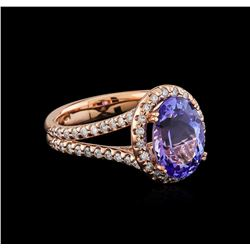 4.01 ctw Tanzanite and Diamond Ring - 14KT Rose Gold