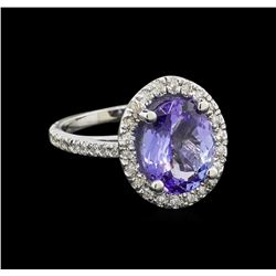 4.6 ctw Tanzanite and Diamond Ring - 14KT White Gold
