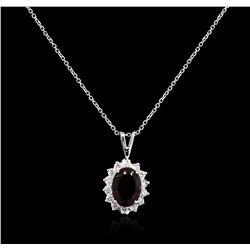 2.53 ctw Green Tourmaline and Diamond Pendant With Chain - 14KT White Gold