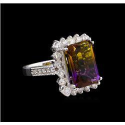 7.72 ctw Ametrine and Diamond Ring - 14KT White Gold