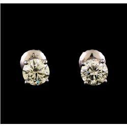 14KT White Gold 1.34 ctw Diamond Solitaire Earrings