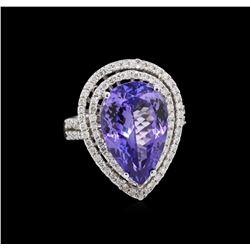 8.82 ctw Tanzanite and Diamond Ring - 14KT White Gold