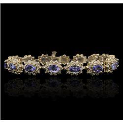 14KT Yellow Gold 9.90 ctw Tanzanite and Diamond Bracelet