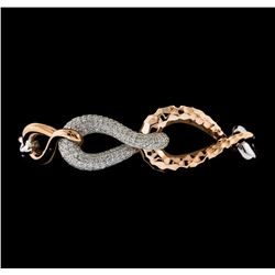 2.36 ctw Diamond Bracelet - 14KT Rose and White Gold