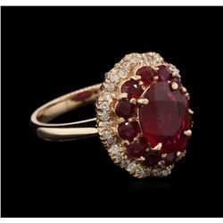3.43 ctw Ruby and Diamond Ring - 14KT Rose Gold