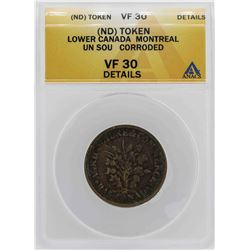 ND Canada-Montreal Un Sou Coin ANACS VF30 Details