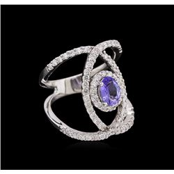 0.73 ctw Tanzanite and Diamond Ring - 14KT White Gold