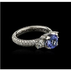 18KT White Gold 1.63 ctw Tanzanite and Diamond Ring