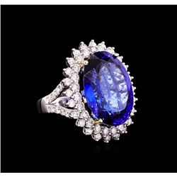 14KT White Gold GIA Certified 22.43 ctw Tanzanite and Diamond Ring