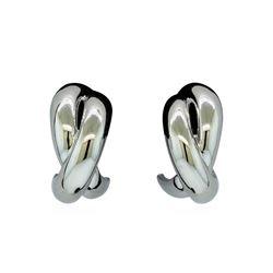 Crossed Hoop Post Earrings - Rhodium Plated