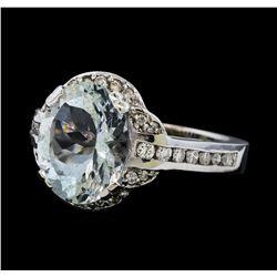 3.77 ctw Aquamarine and Diamond Ring - 14KT White Gold