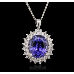 14KT White Gold 9.14 ctw Tanzanite and Diamond Pendant With Chain