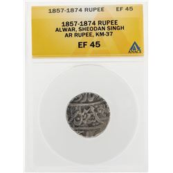 1857-1874 Rupee Alwar Sheodan Singh AR KM-37 Coin ANACS EF45