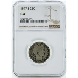 1897-S Barber Silver Quarter Coin NGC G4