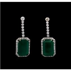 14KT White Gold GIA Certified 30.46 ctw Emerald and Diamond Earrings