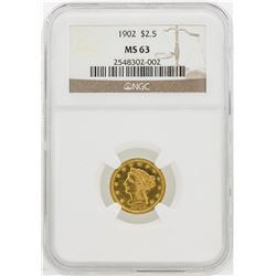 1902 $2 1/2 Liberty Head Quarter Eagle Gold Coin NGC MS63