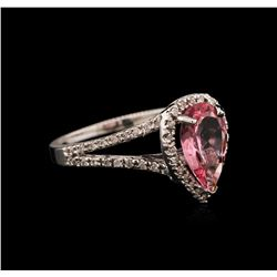 1.45 ctw Pink Tourmaline and Diamond Ring - 14KT White Gold