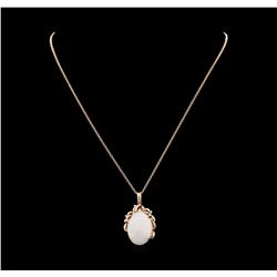 19.56 ctw Opal and Diamond Pendant With Chain - 14KT Rose Gold