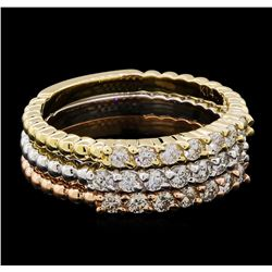 0.65 ctw Diamond Ring Set - 14KT Tri Color Gold