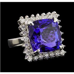 GIA Cert 17.69 ctw Tanzanite and Diamond Ring - 14KT White Gold