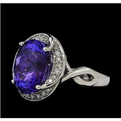 7.25 ctw Tanzanite and Diamond Ring - 14KT White Gold