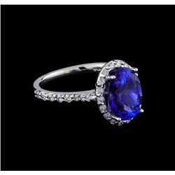 2.60 ctw Tanzanite and Diamond Ring - 14KT White Gold