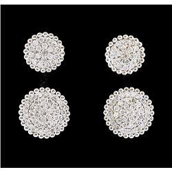 0.75 ctw Diamond Earrings - 14KT White Gold