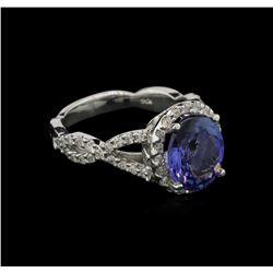 3.03 ctw Tanzanite and Diamond Ring - 14KT White Gold