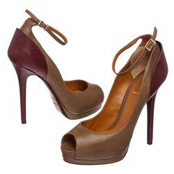 Fendi Taupe Leather Lizard Peep Toe Platform Heels Shoes 39