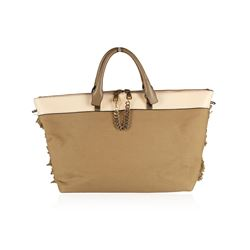 Chloe Baylee Khaki Canvas and Leather Crossbody Tote Bag