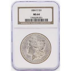 1884-O $1 Morgan Silver Dollar Coin NGC MS64 Great Toning