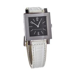 Bvlgari White SQ 29 SLD Stainless Steel Square Ladies Wrist Watch