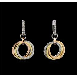 0.51 ctw Diamond Earrings - 14KT Tri Color Gold