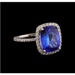 5.30 ctw Tanzanite and Diamond Ring - 14KT White Gold