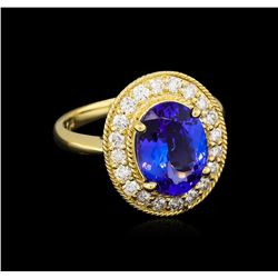 3.47 ctw Tanzanite and Diamond Ring - 14KT Yellow Gold