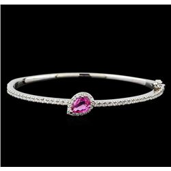 1.08 ctw Pink Sapphire and Diamond Bracelet - 14KT White Gold