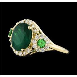 4.24 ctw Emerald, Tsavorite and Diamond Ring - 14KT Yellow Gold
