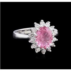 2.40 ctw Pink Topaz and Diamond Ring - 14KT White Gold