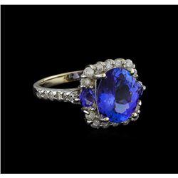 4.23 ctw Tanzanite and Diamond Ring - 14KT White Gold
