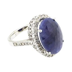 8.80 ctw Sapphire And Diamond Ring - 14KT White Gold