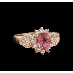 1.15 ctw Pink Tourmaline and Diamond Ring - 14KT Rose Gold