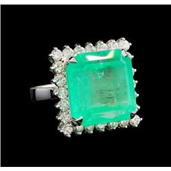 GIA Cert 21.72 ctw Emerald and Diamond Ring - 14KT White Gold