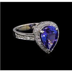 3.56 ctw Tanzanite and Diamond Ring - 14KT White Gold