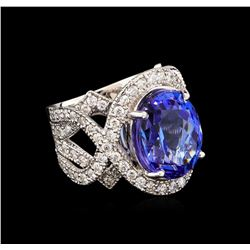 12.92 ctw Tanzanite and Diamond Ring - 14KT White Gold