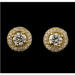 1.38 ctw Diamond Earrings - 14KT Yellow Gold