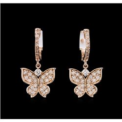 0.73 ctw Diamond Earrings - 14KT Rose Gold