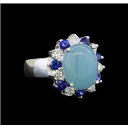 14KT White Gold 4.43 ctw Aquamarine, Sapphire and Diamond Ring
