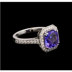 2.95 ctw Tanzanite and Diamond Ring - 14KT White Gold