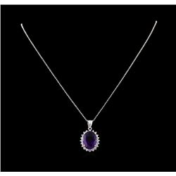 7.88 ctw Amethyst and Diamond Pendant With Chain - 14KT White Gold