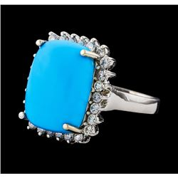 9.37 ctw Turquoise and Diamond Ring - 14KT White Gold